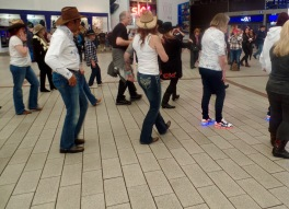 Line dancing flash mob