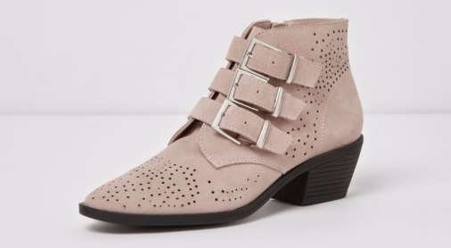 Pink suede ankle boot