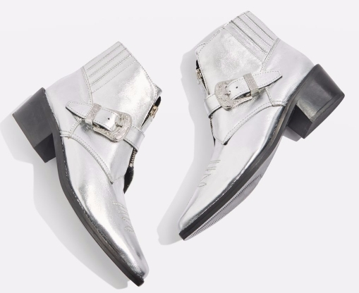 Topshop silver ankle boot